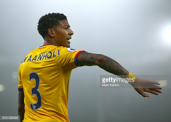 January 31st 2017, Vitality Stadium, Bournemouth, Dorset, England; EPL Premier league football, Bournemouth versus Crystal Palace; Crystal Palace new signing Patrick van Aanholt prepares to take a throw in (Photo by Mark Kerton/Action Plus via Getty Images)