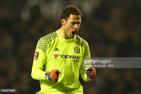 WOLVERHAMPTON, ENGLAND - FEBRUARY 18: Asmir Begovic of Chelsea celebrates after Diego Costa of Chelsea scored a goal top make it 0-2 during the Emirates FA Cup Fifth Round match between Wolverhampton Wanderers and Chelsea at Molineux on February 18, 2017 in Wolverhampton, England. (Photo by Robbie Jay Barratt - AMA/Getty Images)