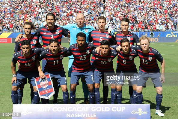 NASHVILLE, TN - JULY 08: The US National Team starting lineup for the group stage match of the CONCACAF Gold Cup between the United States and Panama on July 08, 2017. The United States and Panama played to a 1-1 draw at Nissan Stadium in Nashville, Tennessee. (Photo by Michael Wade/Icon Sportswire via Getty Images)